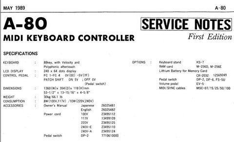 ROLAND A-80 MIDI KEYBOARD CONTROLLER SERVICE NOTES INC BLK DIAG PCB'S CIRCUIT DIAGS AND PARTS LIST 21 PAGES ENG JP