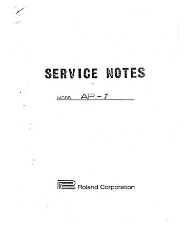 ROLAND AP-7 JET PHASER SERVICE NOTES INC PCB'S WIRING DIAG AND SCHEM DIAGS 7 PAGES ENG