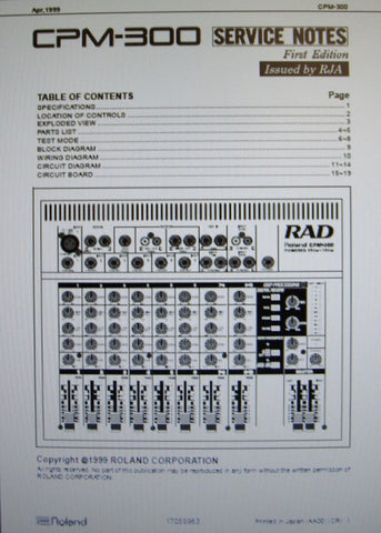 ROLAND CPM-300 POWERED MIXER SERVICE NOTES FIRST EDITION INC BLK DIAG WIRING DIAG CIRC DIAG SCHEMS PCBS AND PARTS LIST 19 PAGES ENG