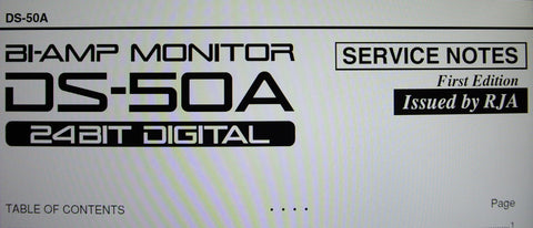 ROLAND DS-50A BI-AMP MONITOR SERVICE NOTES FIRST EDITION INC BLK DIAG SCHEMS PCBS AND PARTS LIST 12 PAGES ENG