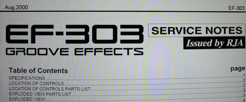 ROLAND EF-303 GROOVE EFFECTS SERVICE NOTES INC BLK DIAG WIRING DIAG SCHEMS PCBS AND PARTS LIST 19 PAGES ENG