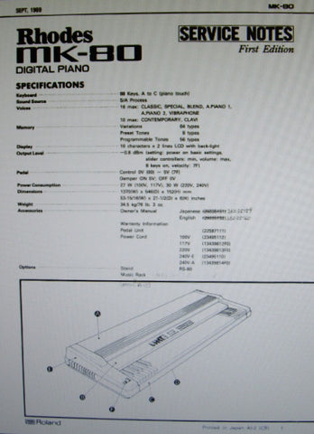 ROLAND MK-80 RHODES DIGITAL PIANO SERVICE NOTES FIRST EDITION INC TRSHOOT GUIDE BLK DIAG SCHEMS PCBS AND PARTS LIST 34 PAGES ENG