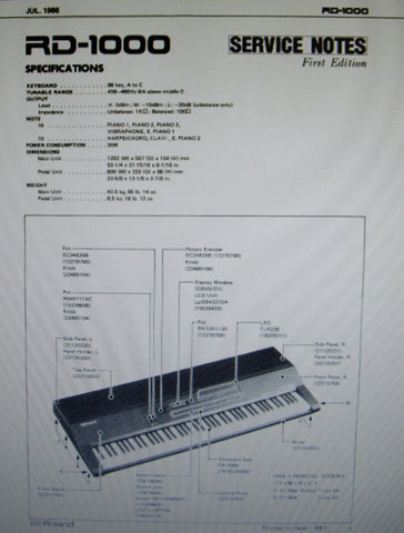 ROLAND RD-1000 DIGITAL PIANO SERVICE NOTES FIRST EDITION INC TRSHOOT GUIDE BLK DIAG SCHEMS PCBS AND PARTS LIST 20 PAGES ENG