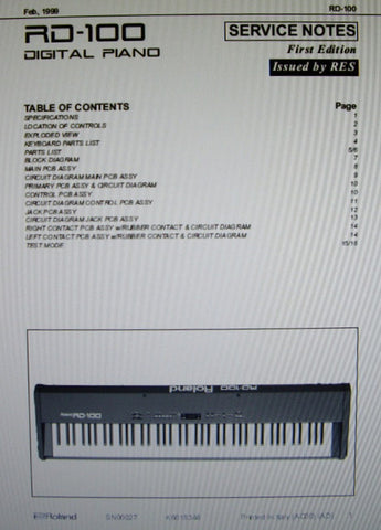 ROLAND RD-100 DIGITAL PIANO SERVICE NOTES FIRST EDITION  INC BLK DIAG SCHEMS PCBS AND PARTS LIST 16 PAGES ENG