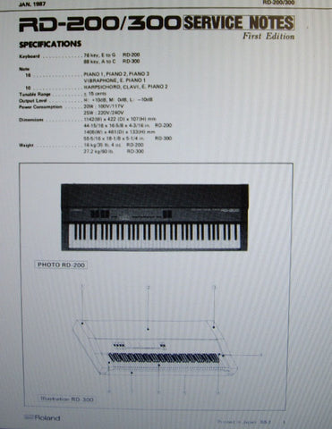 ROLAND RD-200 RD-300 DIGITAL PIANO SERVICE NOTES FIRST EDITION  INC TRSHOOT GUIDE BLK DIAG SCHEMS PCBS AND PARTS LIST 17 PAGES ENG