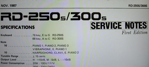 ROLAND RD-250s RD-300s DIGITAL PIANO SERVICE NOTES FIRST EDITION  INC TRSHOOT GUIDE BLK DIAG SCHEMS PCBS AND PARTS LIST 18 PAGES ENG