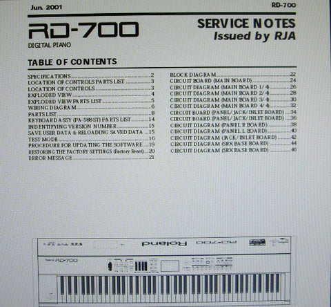 ROLAND RD-700 RD-700GX DIGITAL PIANO SERVICE NOTES INC BLK DIAG WIRING DIAG SCHEMS PCBS AND PARTS LIST 34 PAGES ENG