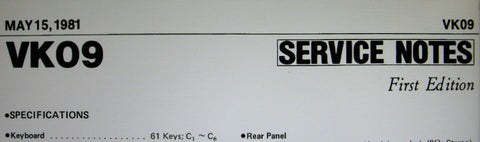 ROLAND VK-09 ELECTRONIC ORGAN SERVICE NOTES FIRST EDITION INC BLK DIAG SCHEMS PCBS AND PARTS LIST 8 PAGES ENG