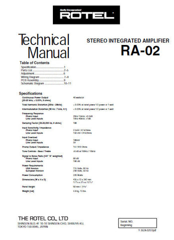 ROTEL RA-02 STEREO INTEGRATED AMPLIFIER TECHNICAL MANUAL INC PCB SCHEM DIAGS AND PARTS LIST 11 PAGES ENG