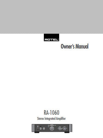 ROTEL RA-1060 STEREO INTEGRATED AMPLIFIER OWNER'S MANUAL 12 PAGES ENG