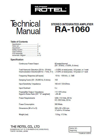 ROTEL RA-1060 STEREO INTEGRATED AMPLIFIER TECHNICAL MANUAL INC PCBS SCHEM DIAGS AND PARTS LIST 8 PAGES ENG