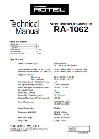 ROTEL RA-1062 STEREO INTEGRATED AMPLIFIER TECHNICAL MANUAL INC PCBS SCHEM DIAGS AND PARTS LIST 14 PAGES ENG