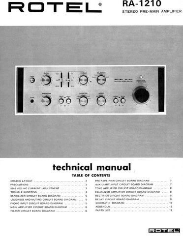 ROTEL RA-1210 STEREO PRE MAIN AMPLIFIER TECHNICAL MANUAL INC PCBS 8 PAGES ENG