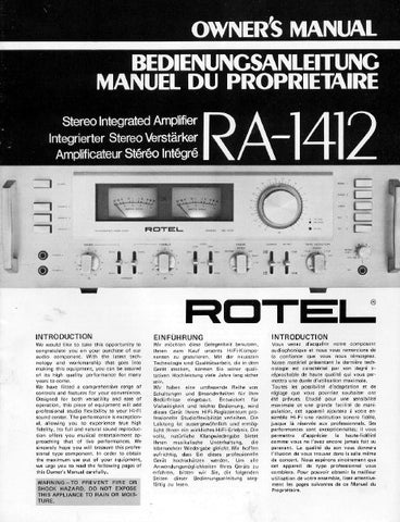 ROTEL RA-1412 STEREO INTEGRATED AMPLIFIER OWNER'S MANUAL 18 PAGES ENG DEUT FRANC