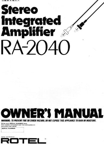 ROTEL RA-2040 STEREO INTEGRATED AMPLIFIER OWNER'S MANUAL 26 PAGES ENG DEUT FRANC