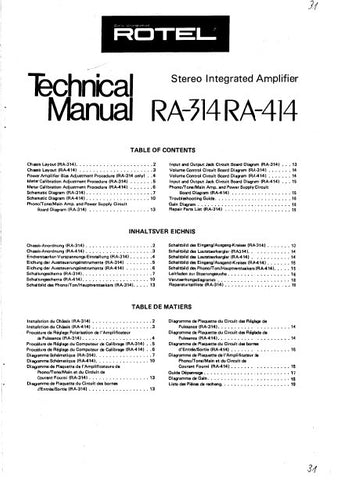 ROTEL RA-314 RA-414 STEREO INTEGRATED AMPLIFIER TECHNICAL MANUAL INC PCBS SCHEM DIAGS AND PARTS LIST 16 PAGES ENG DEUT FRANC