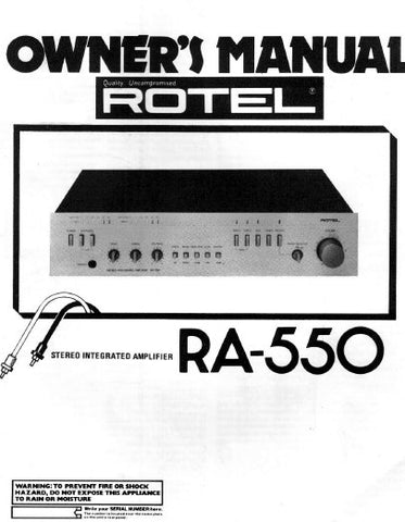 ROTEL RA-550 STEREO INTEGRATED AMPLIFIER OWNER'S MANUAL 6 PAGES ENG