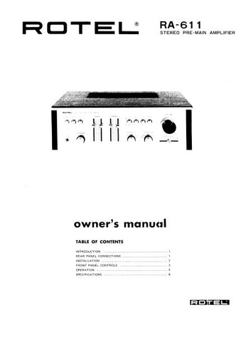 ROTEL RA-611 STEREO PRE MAIN AMPLIFIER OWNER'S MANUAL 7 PAGES ENG