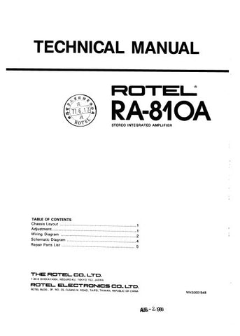 ROTEL RA-810A STEREO INTEGRATED AMPLIFIER TECHNICAL MANUAL INC PCB SCHEM DIAG AND PARTS LIST 4 PAGES ENG