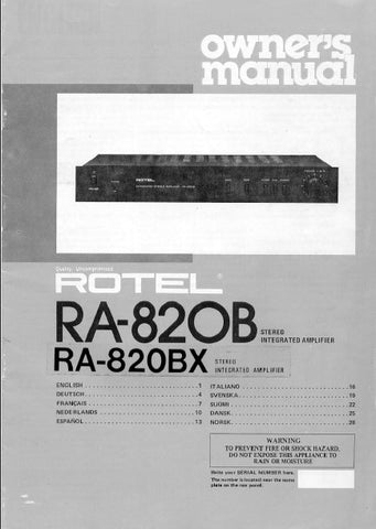 ROTEL RA-820B RA-820BX STEREO INTEGRATED AMPLIFIER OWNER'S MANUAL 5 PAGES ENG
