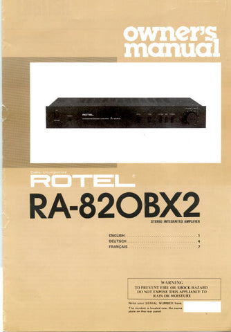 ROTEL RA-820BX2 STEREO INTEGRATED AMPLIFIER OWNER'S MANUAL 4 PAGES ENG
