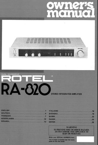 ROTEL RA-820 STEREO INTEGRATED AMPLIFIER OWNER'S MANUAL 4 PAGES ENG