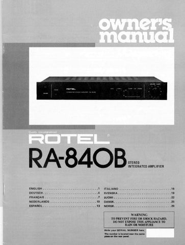 ROTEL RA-840B STEREO INTEGRATED AMPLIFIER OWNER'S MANUAL 5 PAGES ENG