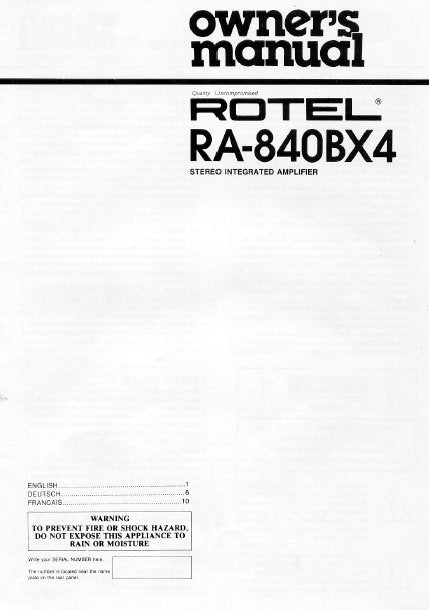 ROTEL RA-840BX4 STEREO INTEGRATED AMPLIFIER OWNER'S MANUAL 7 PAGES ENG