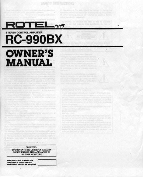 ROTEL RC-990BX STEREO CONTROL AMPLIFIER OWNER'S MANUAL 7 PAGES ENG