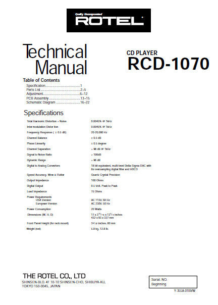 ROTEL RCD-1070 CD PLAYER TECHNICAL MANUAL INC PCB SCHEM DIAG AND PARTS LIST 9 PAGES ENG