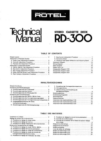 ROTEL RD-300 STEREO CASSETTE DECK TECHNICAL MANUAL INC BLK DIAG PCBS SCHEM DIAG AND PARTS LIST 12 PAGES ENG FRANC DEUT