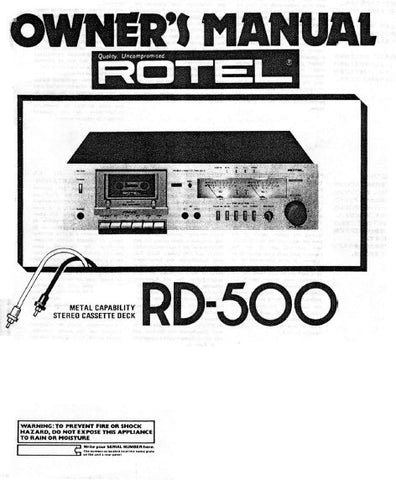 ROTEL RD-500 STEREO CASSETTE DECK OWNER'S MANUAL 6 PAGES ENG