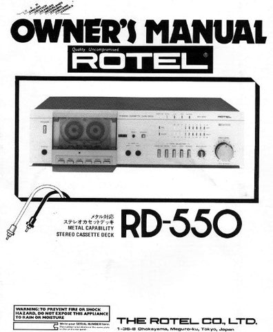 ROTEL RD-550 STEREO CASSETTE DECK OWNER'S MANUAL 16 PAGES ENG