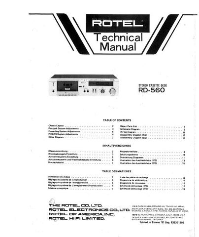 ROTEL RD-560 STEREO CASSETTE DECK TECHNICAL MANUAL INC BLK DIAG PCBS SCHEM DIAG AND PARTS LIST 10 PAGES ENG FRANC DEUT