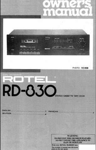 ROTEL RD-830 STEREO CASSETTE DECK OWNER'S MANUAL 5 PAGES ENG