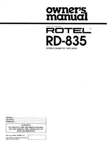 ROTEL RD-835 STEREO CASSETTE DECK OWNER'S MANUAL 5 PAGES ENG