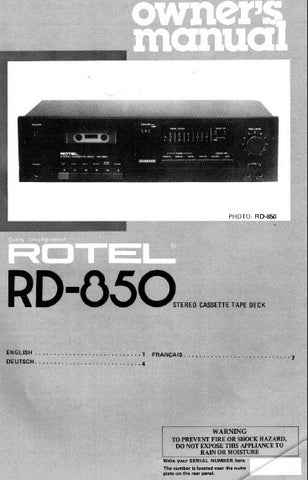 ROTEL RD-850 STEREO CASSETTE DECK OWNER'S MANUAL 5 PAGES ENG