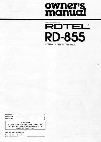 ROTEL RD-855 STEREO CASSETTE TAPE DECK OWNER'S MANUAL 5 PAGES ENG