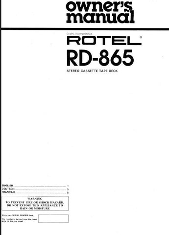 ROTEL RD-865 STEREO CASSETTE TAPE DECK OWNER'S MANUAL 5 PAGES ENG
