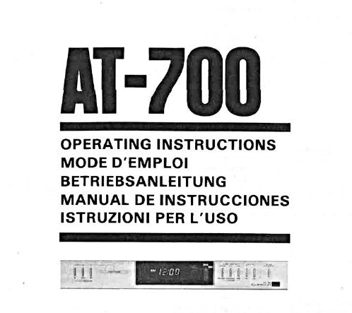 SANSUI AT-700 AUDIO PROGRAM TIMER OPERATING INSTRUCTIONS 23 PAGES ENG FRANC DEUT ESP ITAL
