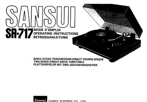 SANSUI SR-717 TWO SPEED DIRECT DRIVE TURNTABLE OPERATING INSTRUCTIONS 27 PAGES ENG FRANC DEUT
