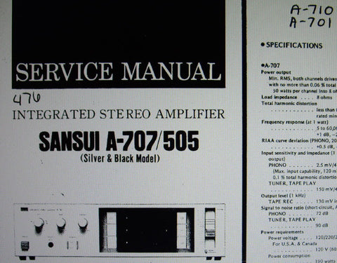 SANSUI A-505 A-707 A-710 A-701 STEREO INTEGRATED AMP SERVICE MANUAL INC BLK DIAG SCHEMS PCBS AND PARTS LIST 16 PAGES ENG