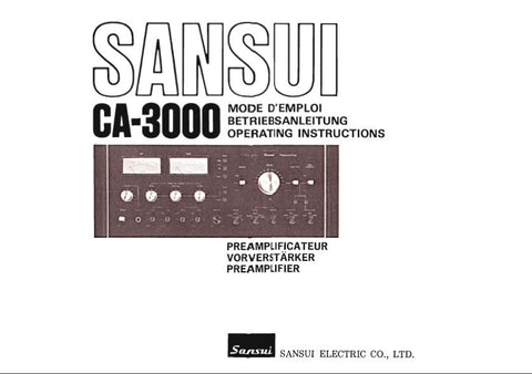 SANSUI CA-3000 STEREO PREAMP OPERATING INSTRUCTIONS  INC CONN DIAGS 52 PAGES ENG FRANC DEUT