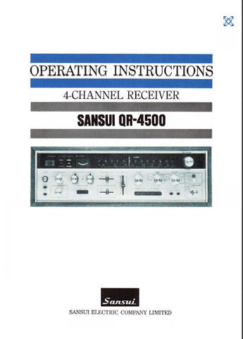 SANSUI QR-4500 4 CHANNEL RECEIVER OPERATING INSTRUCTIONS INC CONN DIAGS 24 PAGES ENG