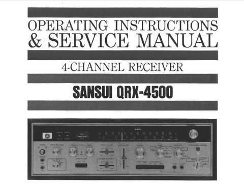 SANSUI QRX-4500 4 CHANNEL RECEIVER OPERATING INSTRUCTIONS AND SERVICE MANUAL INC CONN DIAGS TRSHOOT GUIDE SCHEMS PCBS AND PARTS LIST 50 PAGES ENG