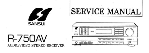 SANSUI R-750AV AV STEREO RECEIVER SERVICE MANUAL INC BLK DIAGS SCHEMS PCBS AND PARTS LIST 20 PAGES ENG