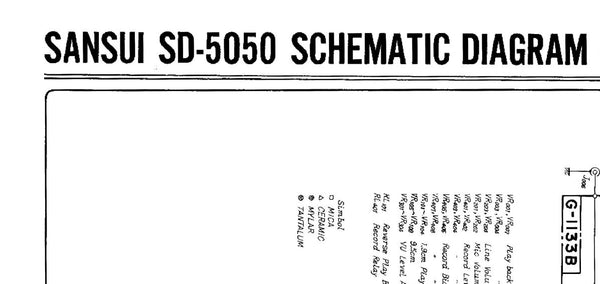 SANSUI SD-5050 STEREO TAPE DECK SCHEMATIC DIAGRAMS 3 PAGES ENG