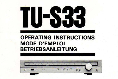SANSUI TU-S33 SERVO LOCK STEREO TUNER OPERATING INSTRUCTIONS INC CONN DIAG 14 PAGES ENG FRANC DEUT