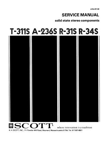SCOTT R-31S R-34S T-311S A-236S SOLID STATE STEREO COMPONENTS SERVICE MANUAL INC SCHEM DIAGS 26 PAGES ENG