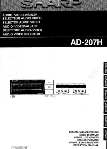 SHARP AD-207H AUDIO VIDEO SELECTOR OPERATION MANUAL 88 PAGES DEUT FRANC ESP SVENSKA ITAL ENG